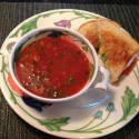 Soup and Sandwich Night – Thick Tomato & Basil Soup with Grilled Cheese & Avocado Sandwiches