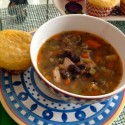Super Bowl Soup with chicken, sausage and black bean