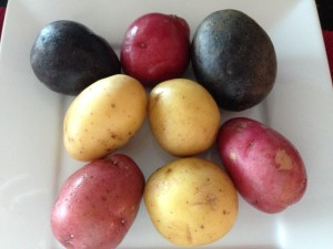 Colorful potatoes can be found packaged together.