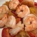 Sautéd Shrimp with Rosemary over Spaghetti Squash – 100% Delicious!